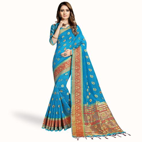 Eye-Catching Sky Blue Colored Festive Wear Woven Chanderi Silk Saree