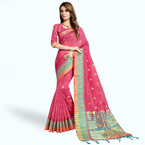 Attractive Pink Colored Festive Wear Woven Chanderi Silk Saree