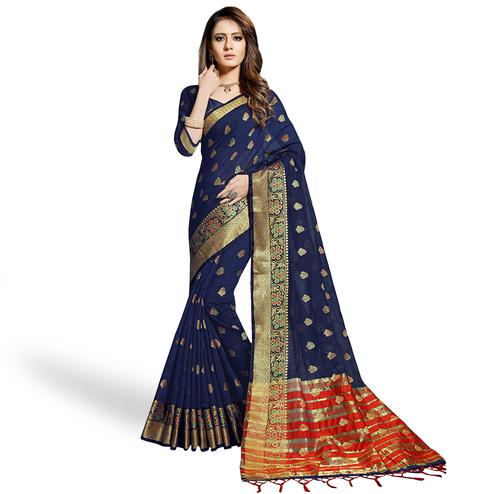 Appealing Navy Blue Colored Festive Wear Woven Chanderi Silk Saree