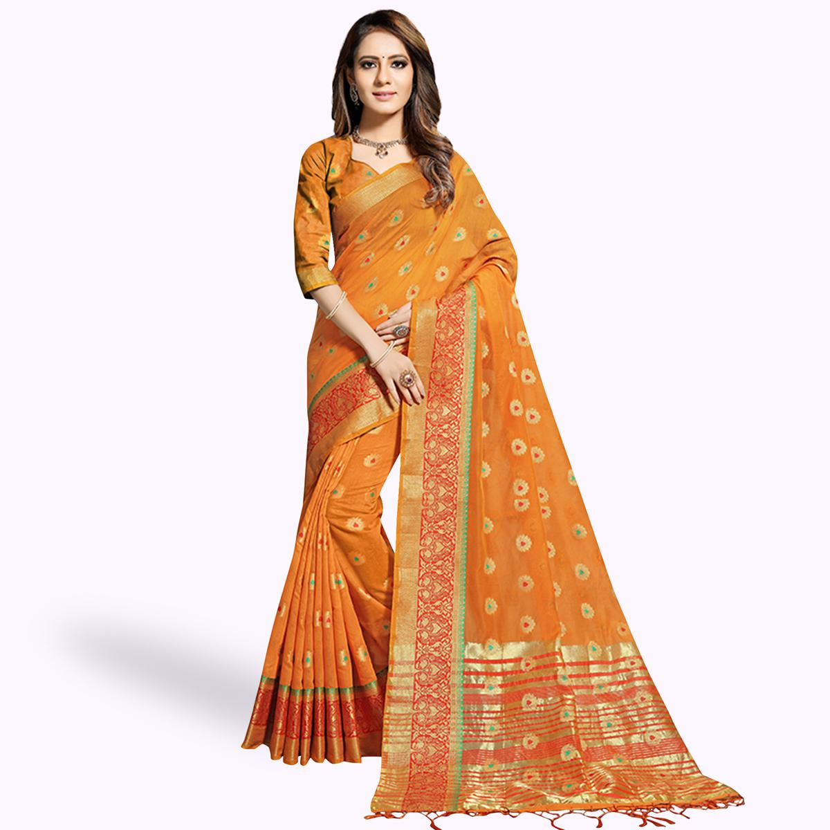 Impressive Orange Colored Festive Wear Woven Chanderi Silk Saree