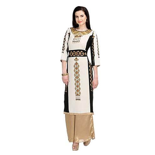 Off-White Printed Casual Wear American Crape Kurti