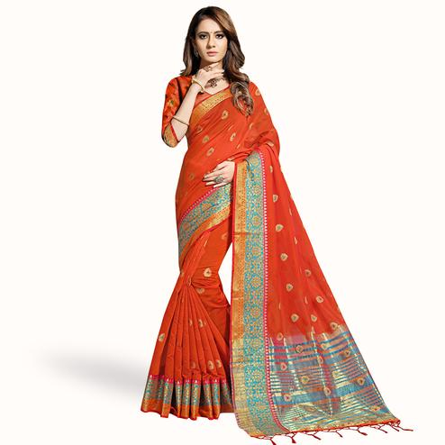 Opulent Red Colored Festive Wear Woven Chanderi Silk Saree