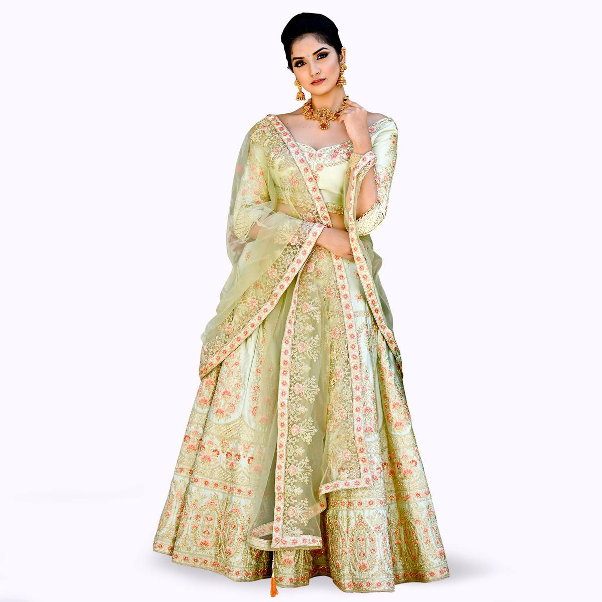 Intricate Olive Green Colored Partywear Embroidered Satin Lehenga Choli