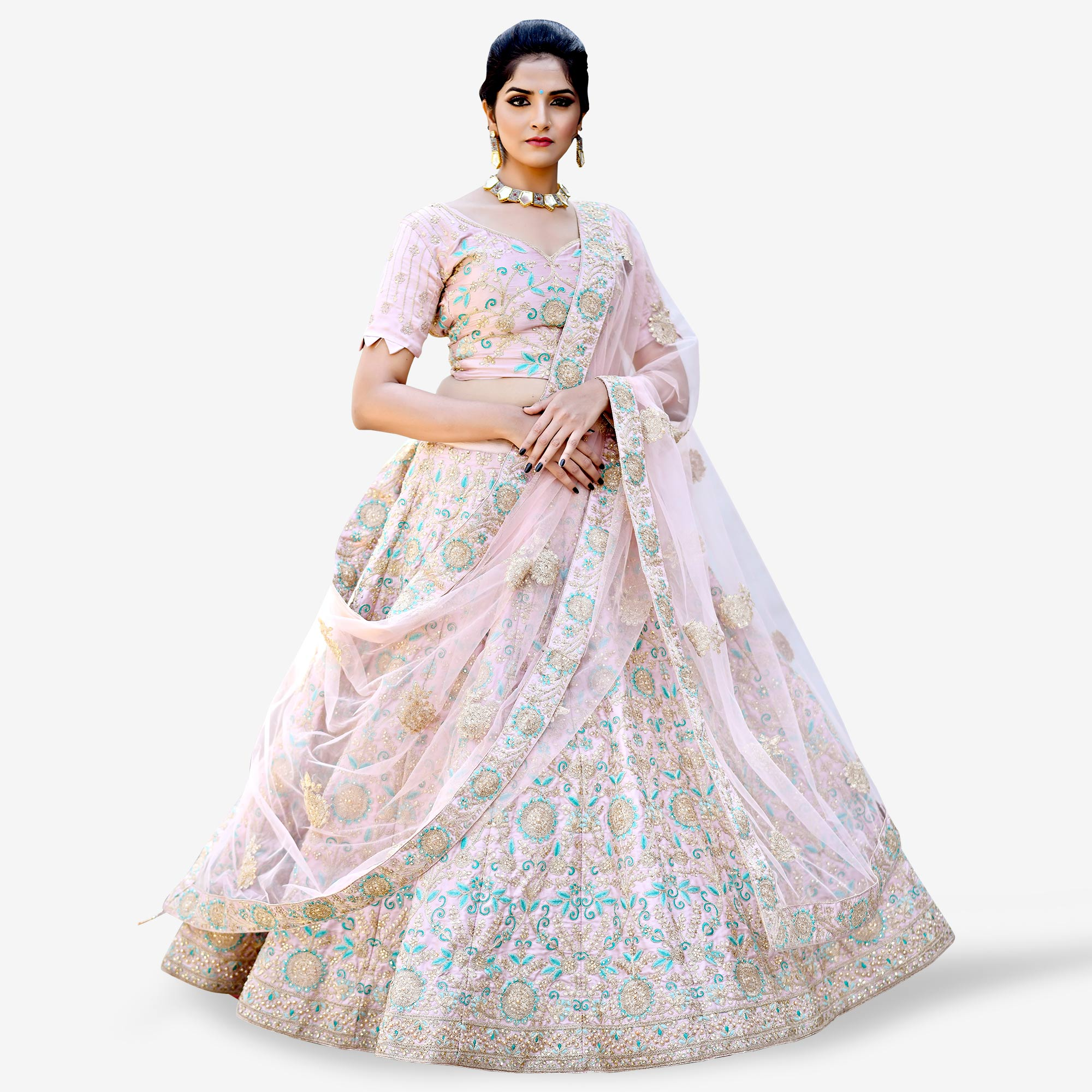 Arresting Pink Colored Partywear Embroidered Satin Lehenga Choli