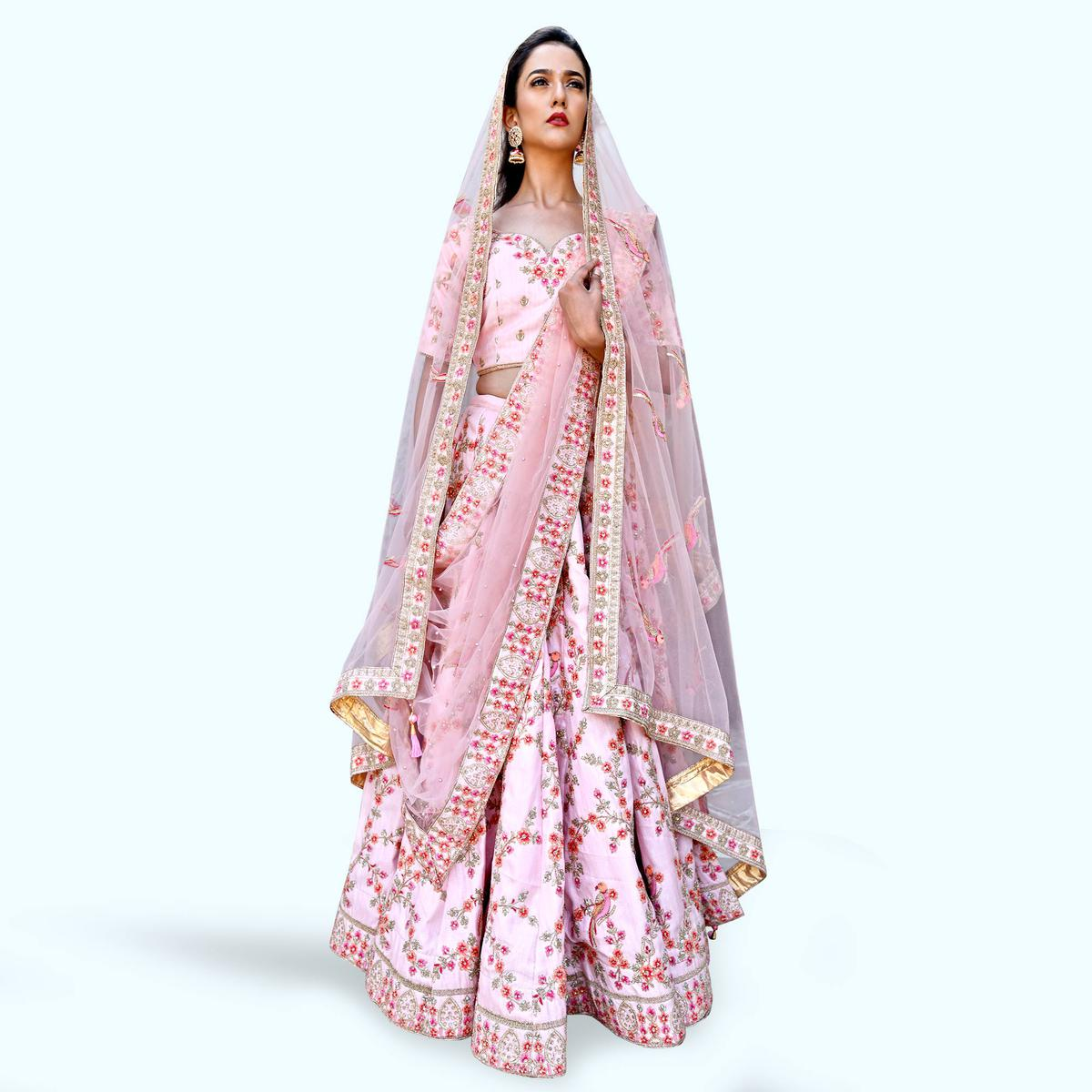 Desirable Flamingo Pink Colored Partywear Embroidered Art Silk Lehenga Choli