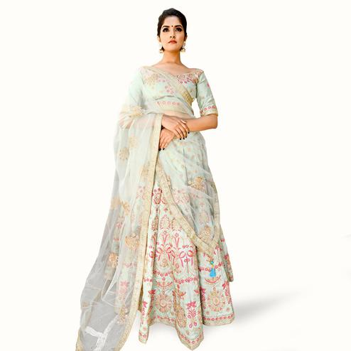 Sophisticated Mint Green Colored Partywear Embroidered Silk Lehenga Choli