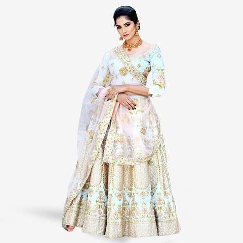 Entrancing Light Blue Colored Partywear Embroidered Mulberry Silk Lehenga Choli