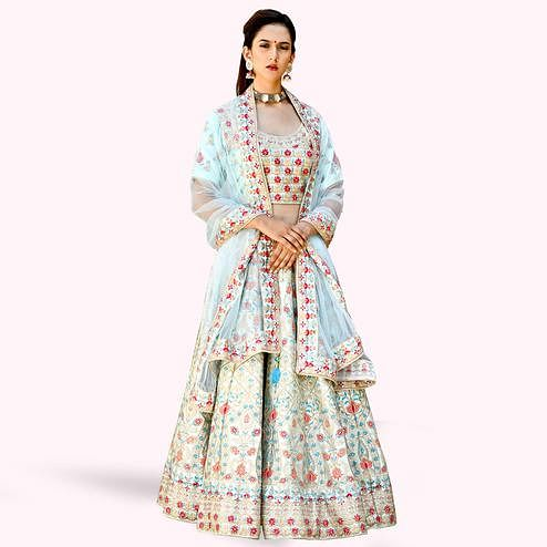 Capricious Light Blue Colored Partywear Embroidered Satin Lehenga Choli