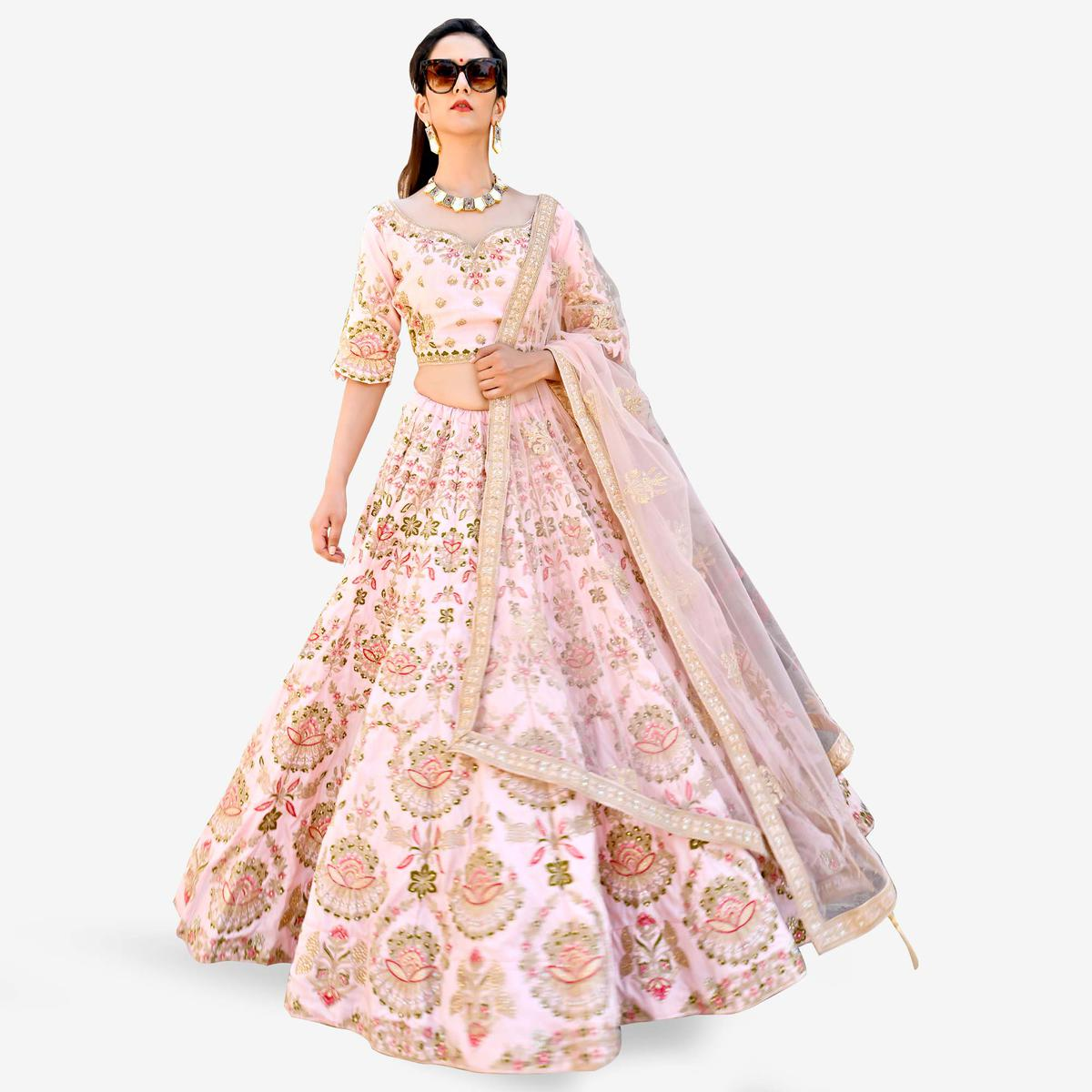 Appealing Light Pink Colored Partywear Embroidered Art Silk Lehenga Choli