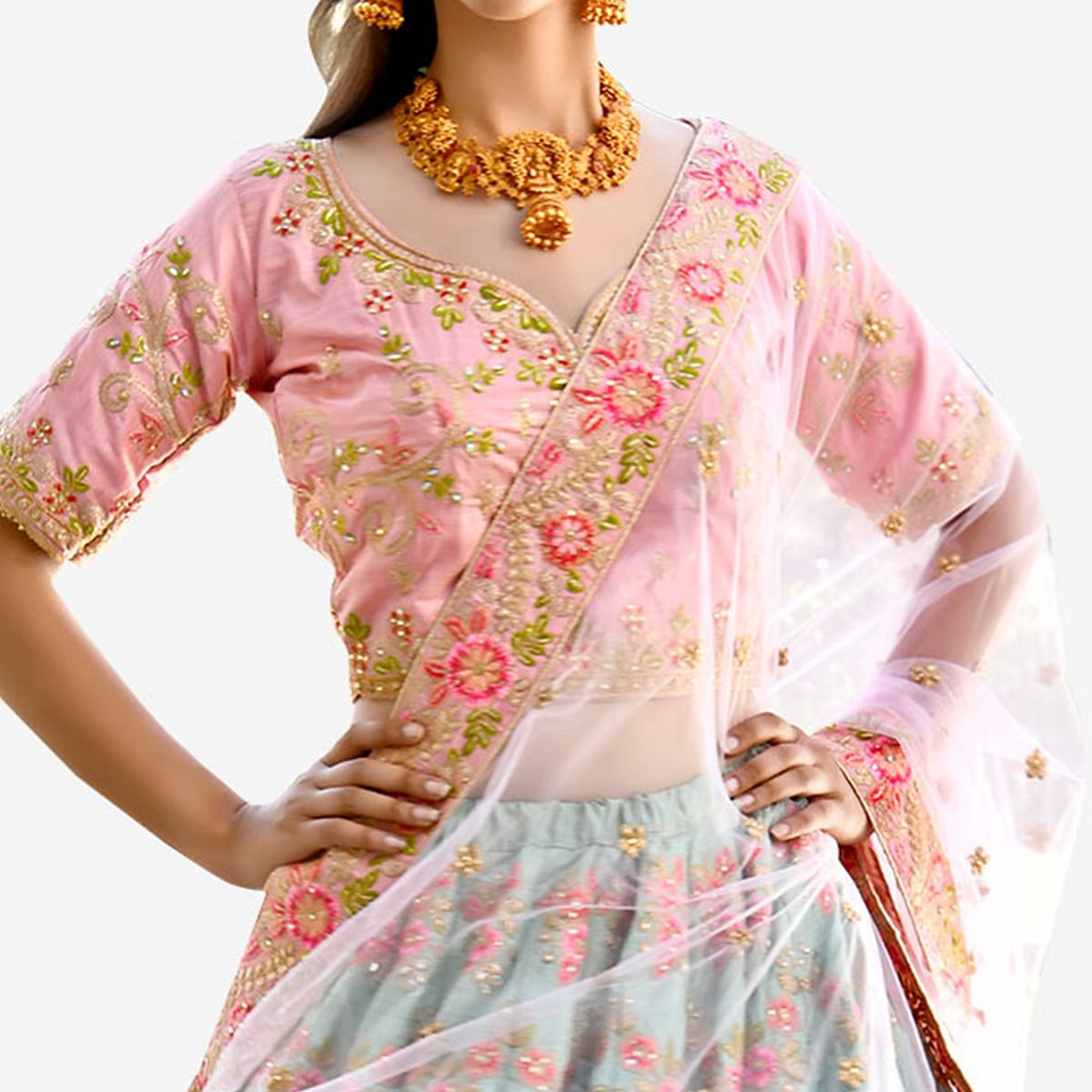 Adorning Aqua Green-Light Pink Colored Partywear Embroidered Cotton Silk Lehenga Choli