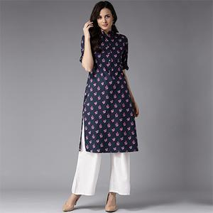 Beautiful Navy Floral Printed Casual Wear Poly Muslin Kurti