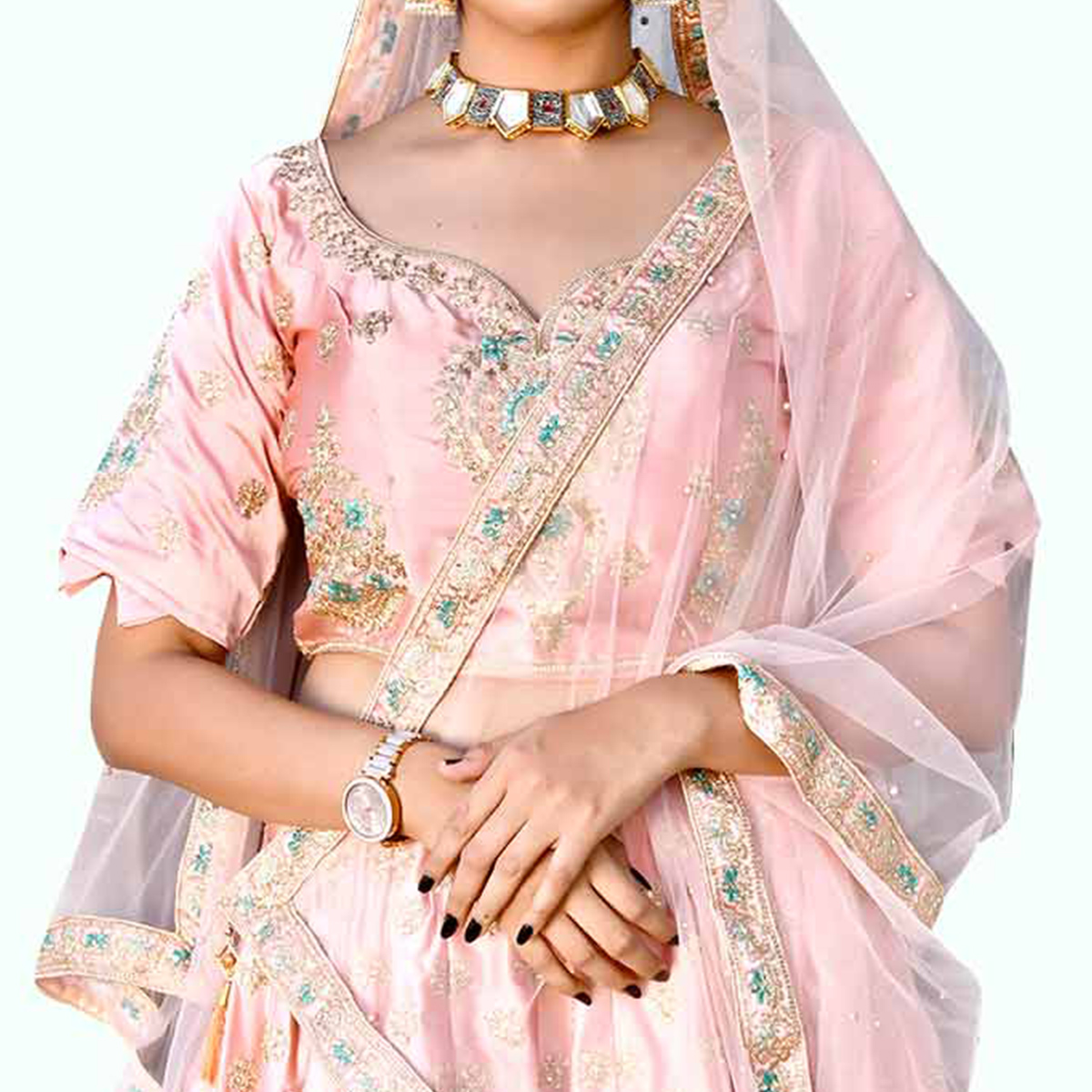 Prominent Light Pink Colored Partywear Embroidered Satin Lehenga Choli