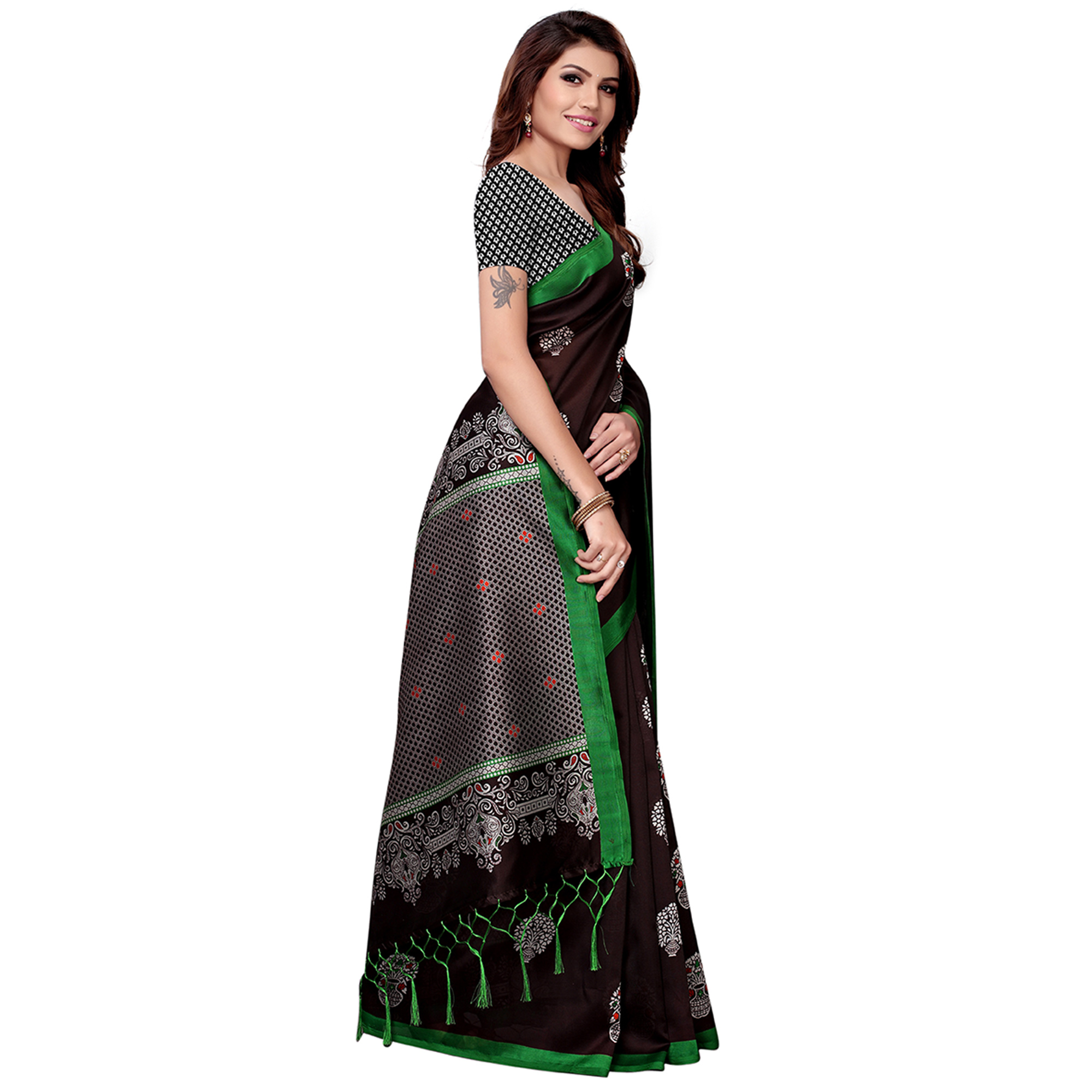 Intricate Dark Brown Colored Festive Wear Art Silk Saree