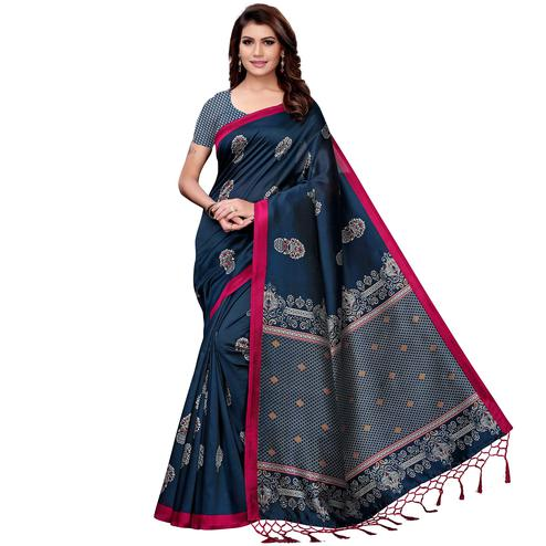 Arresting Navy Blue Colored Festive Wear Art Silk Saree