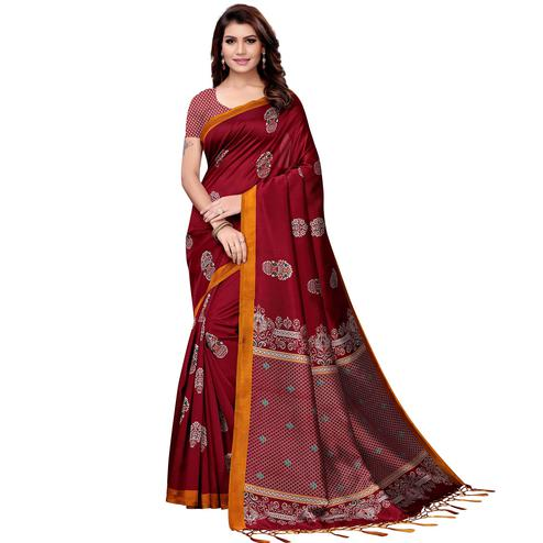 Exotic Maroon Colored Festive Wear Art Silk Saree
