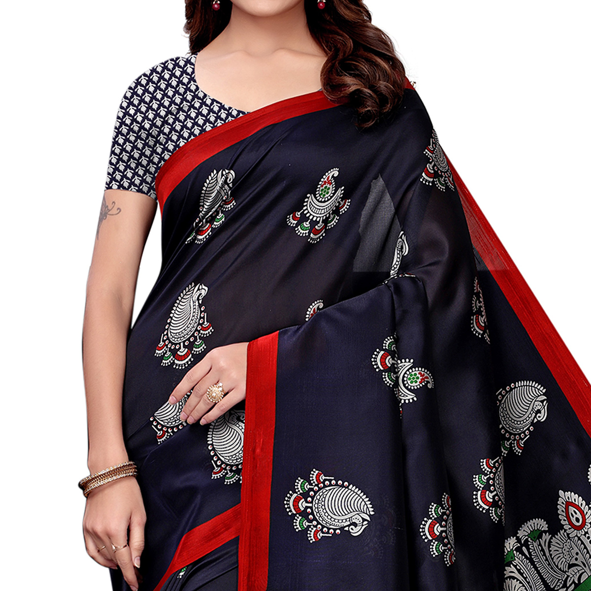 Sophisticated Navy Blue Colored Festive Wear Art Silk Saree
