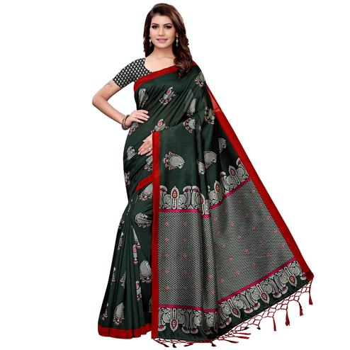 Trendy Dark Green Colored Festive Wear Art Silk Saree