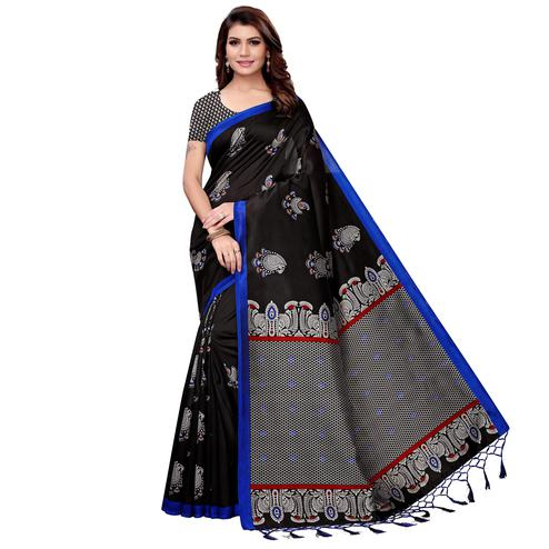Elegant Black Colored Festive Wear Art Silk Saree