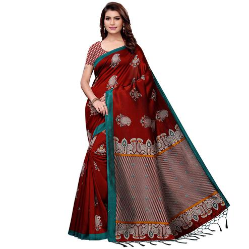Radiant Maroon Colored Festive Wear Art Silk Saree