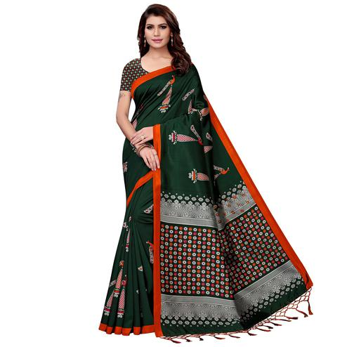 Pleasant Dark Green Colored Festive Wear Art Silk Saree