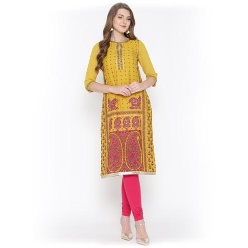 Charismatic Yellow Floral Printed Casual Wear Poly Muslin Kurti