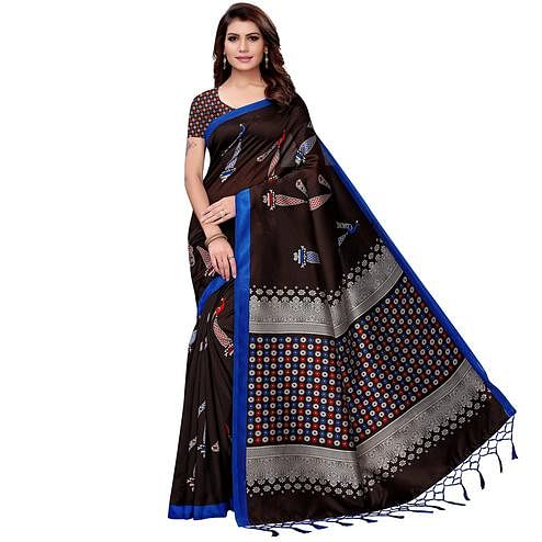 Energetic Dark Brown Colored Festive Wear Art Silk Saree