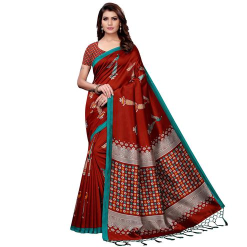 Glowing Maroon Colored Festive Wear Art Silk Saree