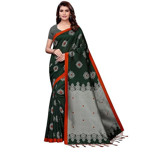 Gleaming Dark Green Colored Festive Wear Art Silk Saree