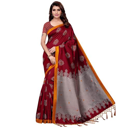 Mesmeric Maroon Colored Festive Wear Art Silk Saree