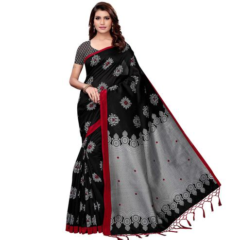 Unique Black Colored Festive Wear Art Silk Saree
