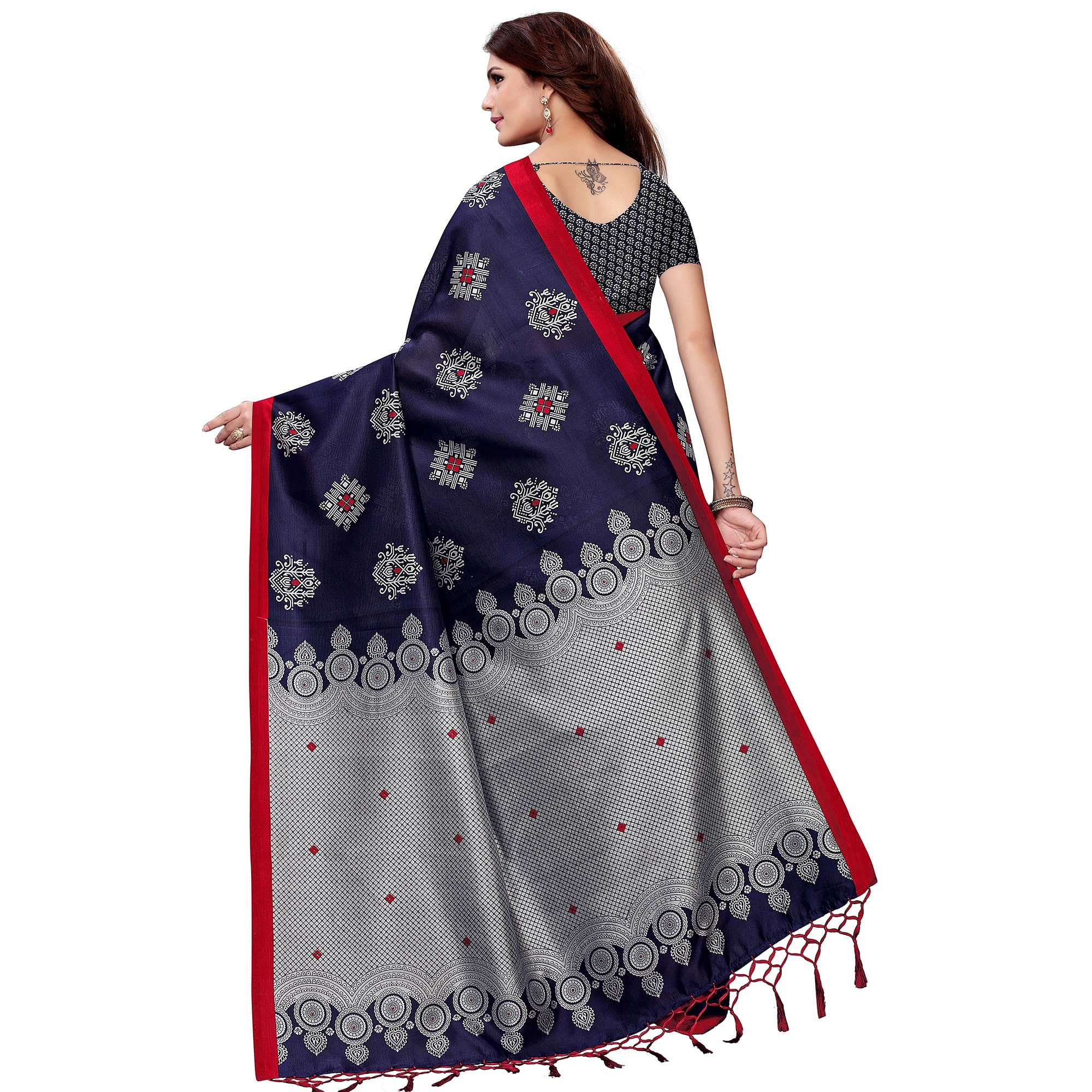 Demanding Navy Blue Colored Festive Wear Art Silk Saree