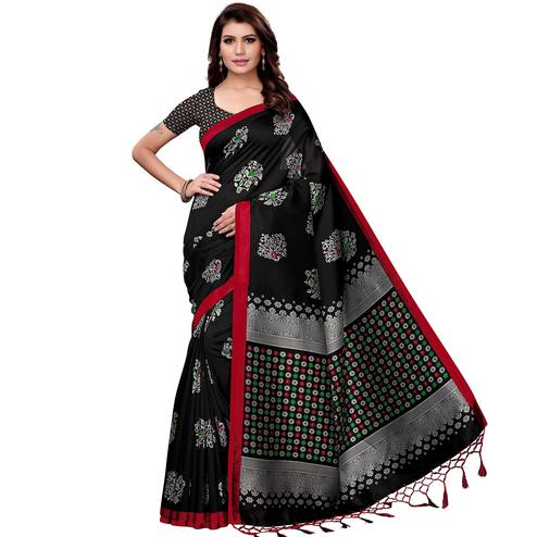 Refreshing Black Colored Festive Wear Art Silk Saree