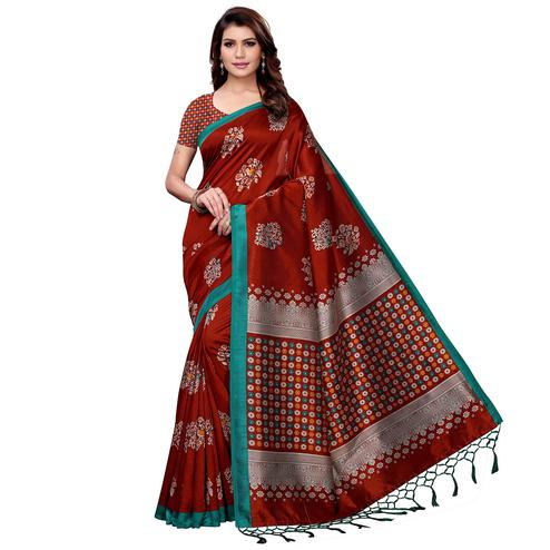 Magnetic Maroon Colored Festive Wear Art Silk Saree