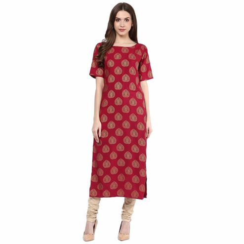 Adorable Red Printed Casual Wear Poly Muslin Kurti