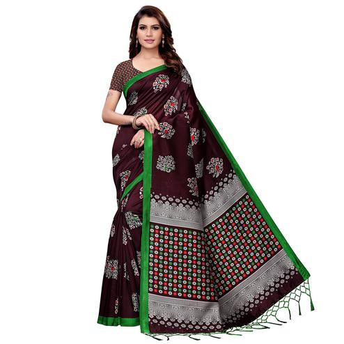 Hypnotic Wine Colored Festive Wear Art Silk Saree