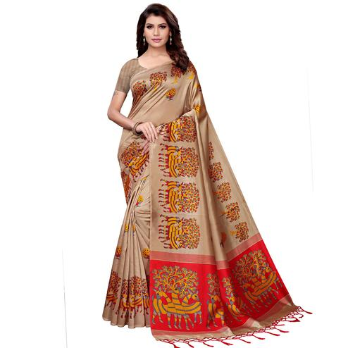 Flattering Beige Colored Festive Wear Art Silk Saree