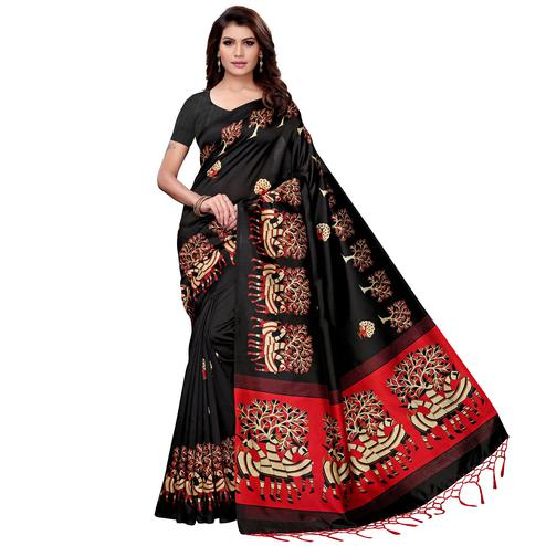 Excellent Black Colored Festive Wear Art Silk Saree