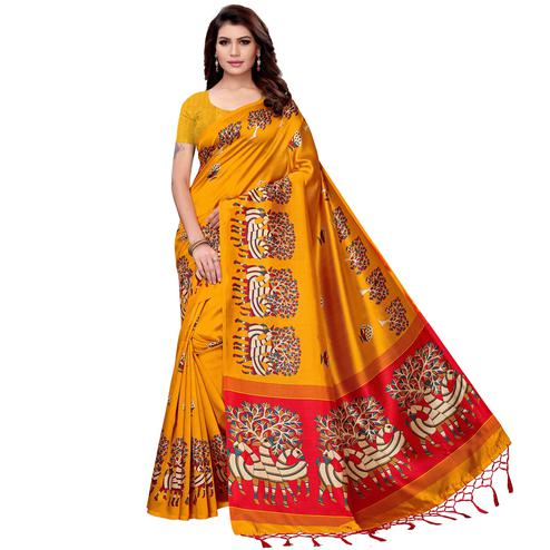 Preferable Mustard Yellow Colored Festive Wear Art Silk Saree
