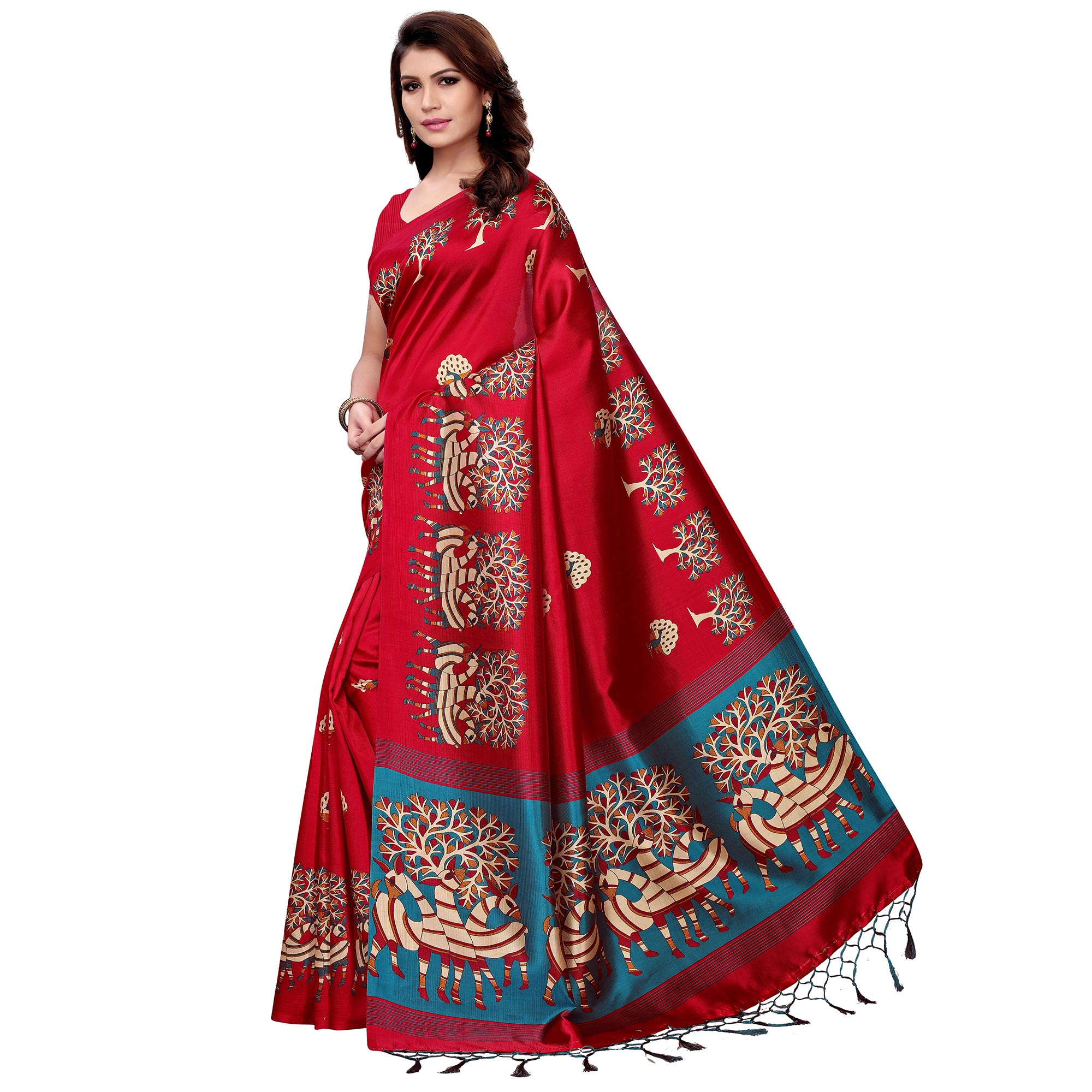 Marvellous Red Colored Festive Wear Art Silk Saree