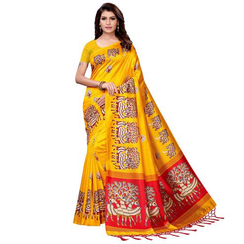 Flamboyant Yellow Colored Festive Wear Art Silk Saree