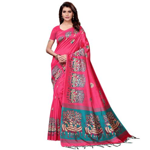 Pretty Pink Colored Festive Wear Art Silk Saree