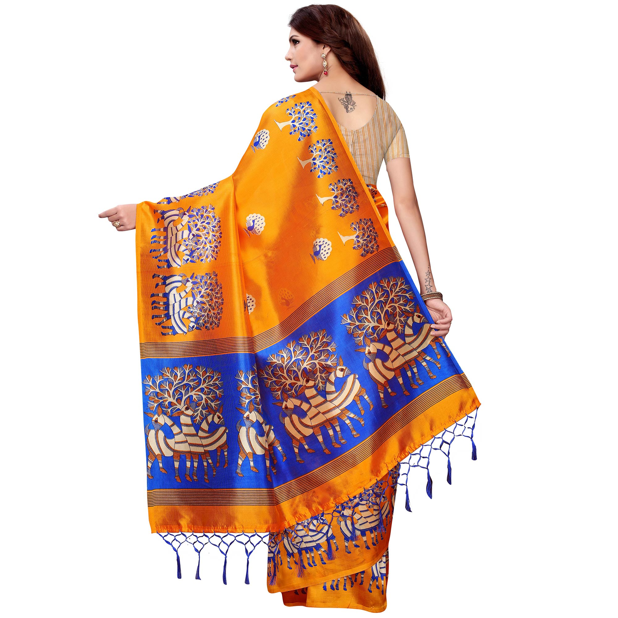 Alluring Orange Colored Festive Wear Art Silk Saree