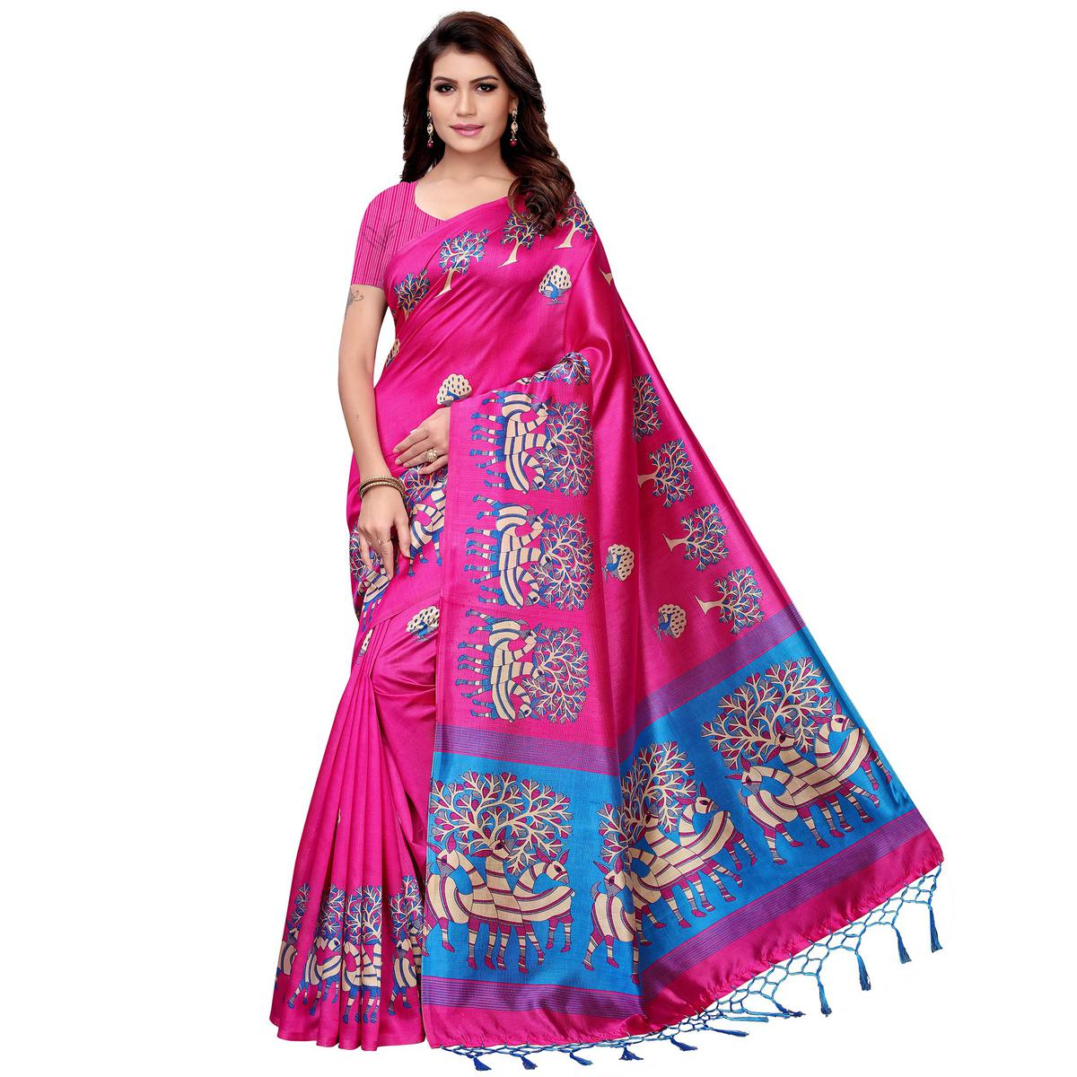 Sensational Pink Colored Festive Wear Art Silk Saree