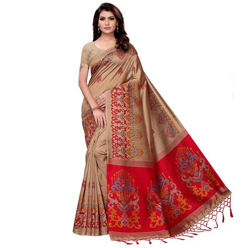 Flaunt Beige Colored Festive Wear Art Silk Saree