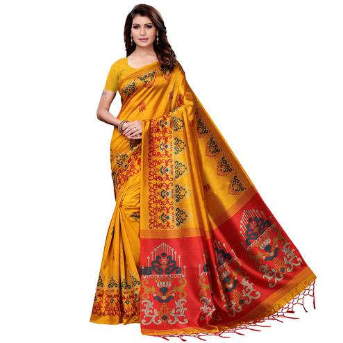 Stunning Mustard Yellow Colored Festive Wear Art Silk Saree