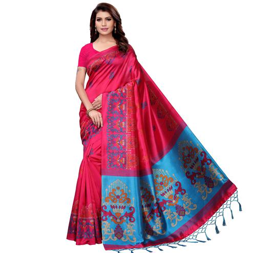 Flirty Pink Colored Festive Wear Art Silk Saree