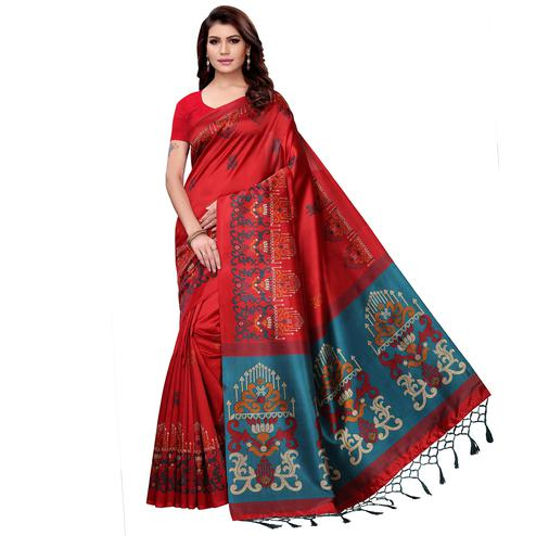 Attractive Red Colored Festive Wear Art Silk Saree