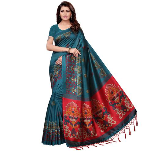 Beautiful Teal Blue Colored Festive Wear Art Silk Saree