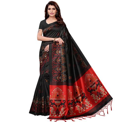 Graceful Black Colored Festive Wear Art Silk Saree