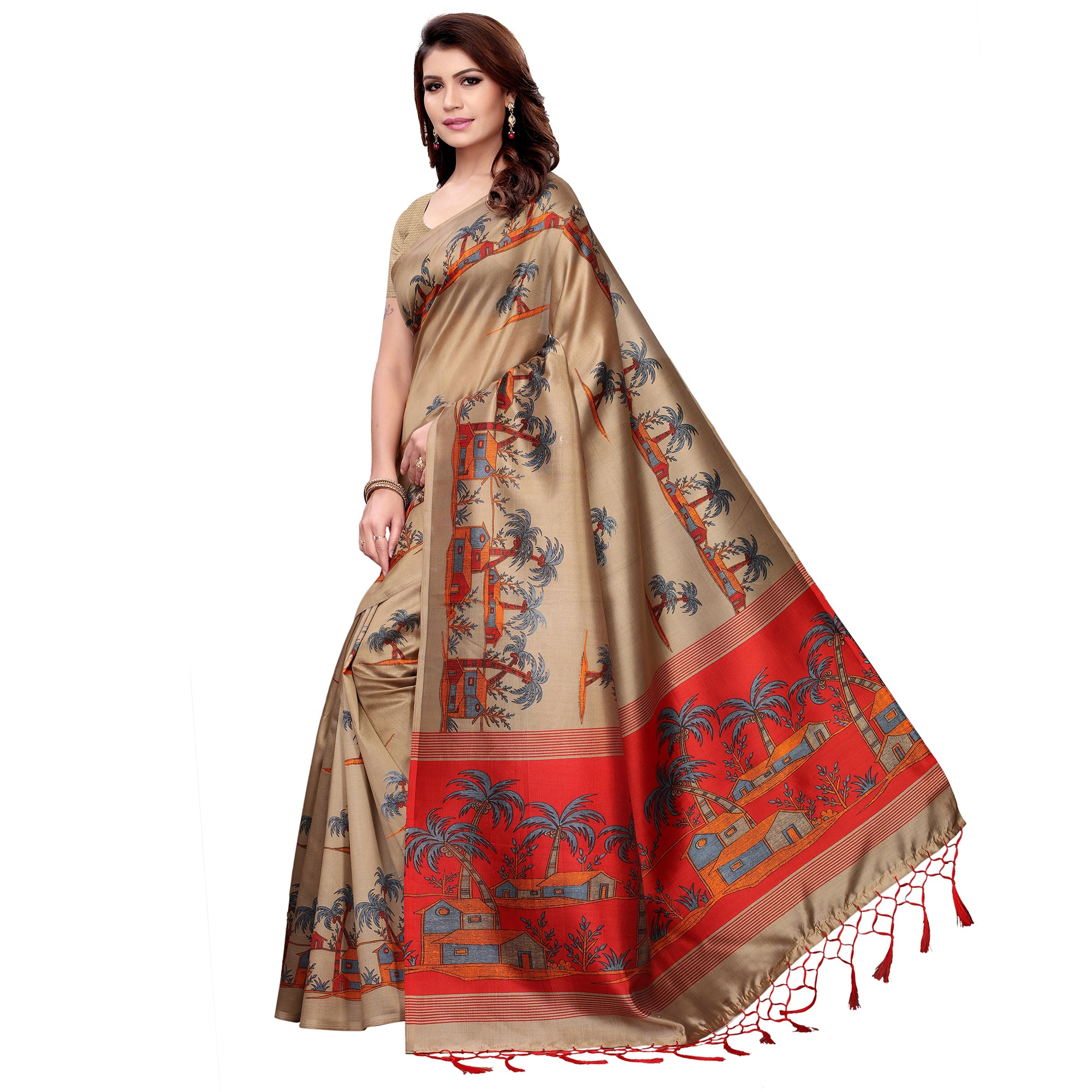 Blooming Beige Colored Festive Wear Art Silk Saree